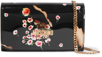 Moschino - Printed Patent-leather Shoulder Bag - Black $595 thestylecure.com
