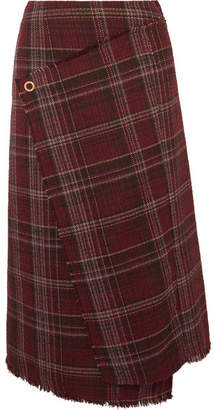 Acne Studios Checked Tweed Wrap-effect Skirt - Burgundy