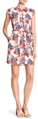 Collective Concepts Cap Sleeve Waist Tie Floral Dress