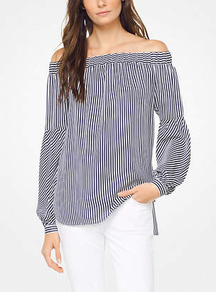 Michael Kors Striped Silk-Georgette Off-The-Shoulder Top