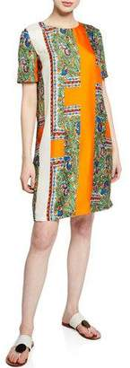 Tory Burch Mallory Short-Sleeve Bird-Print Silk Dress