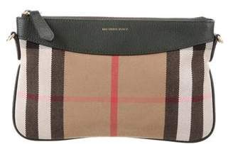 Burberry House Check Leather-Trimmed Clutch