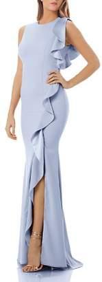 Carmen Marc Valvo Ruffled Crepe Gown