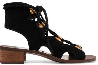 See by Chloé - Edna Suede Sandals - Black $355 thestylecure.com