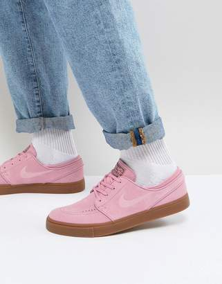 Nike Sb SB Stefan Janoski Trainers With Gum Sole In Pink 333824-604