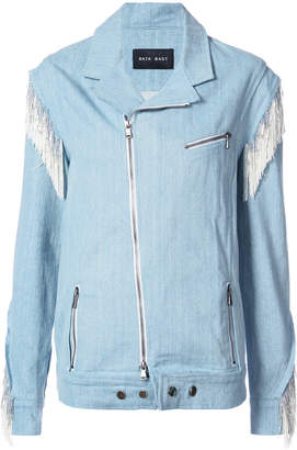 Baja East fringed trim denim biker jacket