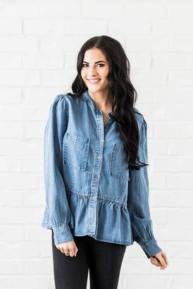 Everyday ShopRachel Parcell Chambray Peplum Button Up