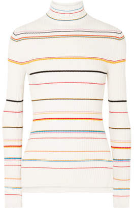 Sjyp Striped Ribbed-knit Turtleneck Sweater - Cream