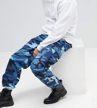 Reclaimed Vintage Revived Camo Cargo Pants In Blue