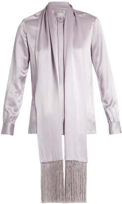 HILLIER BARTLEY Fringed-scarf satin blouse