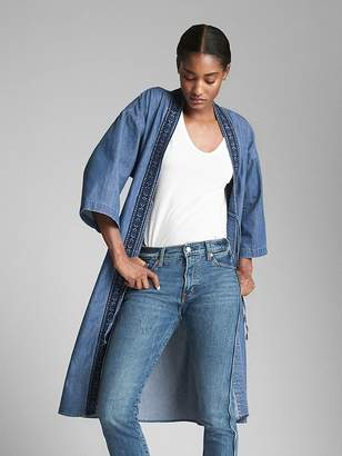 Gap Embroidered Kimono Duster Jacket in Denim