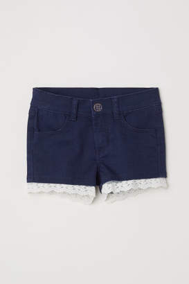 H&M Lace-trimmed Twill Shorts - Blue