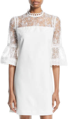 Catherine Malandrino 3/4-Bell-Sleeve Lace-Yoke Dress
