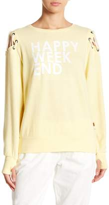 Peace Love World Cinthia Happy Weekend Cold Shoulder Pullover