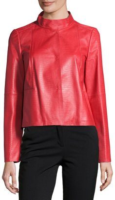 Lafayette 148 New York Crawford Leather Topper Jacket, Ruby $689 thestylecure.com