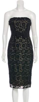 Giambattista Valli Strapless Lace Dress Black Strapless Lace Dress