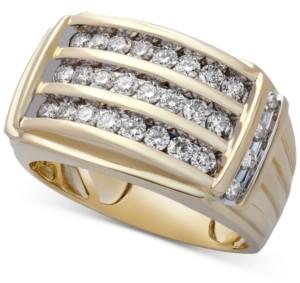 Macy's Men's Diamond Multi-Row Ring (1 ct. t.w.) in 10k Gold