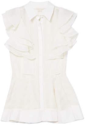 Antonio Berardi Woman Lace-trimmed Crepe De Chine Top White Size 46 Antonio Berardi Discount In China 82GKb0KW