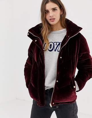 Qed London QED London velvet chevron padded jacket