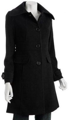 Kenneth Cole Reaction black wool blend wide collar coat