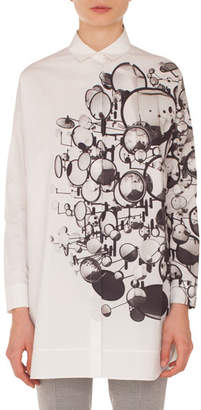 Akris Punto Long-Sleeve Button-Down Mirror-Print Cotton Tunic Blouse