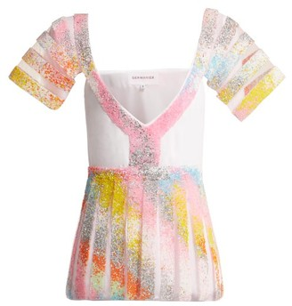 Germanier - Bead Embellished Tulle And Jersey Top - Womens - Multi