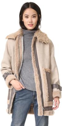 Rebecca Taylor Shearling Mixed Coat $1,325 thestylecure.com