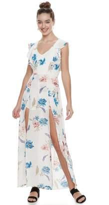 Juniors' Three Pink Hearts Floral Ruffle Slit Maxi Dress