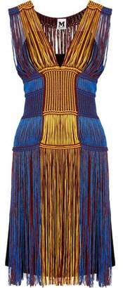 M Missoni Fringed Color-Block Crochet-Knit Dress