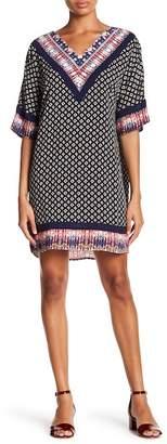 THML Double V-Neck Patterned Dress
