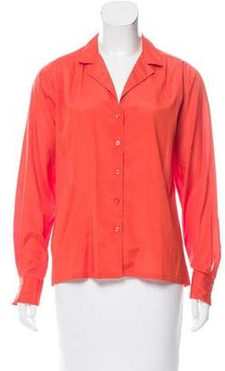 Halston Button-Up Long Sleeve Top