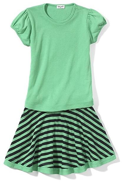 Splendid Littles Toddler Girl Mini Stripe Puff Sleeve Shirt and Navy Stripe Skirt