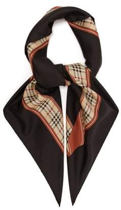 Burberry Archive Print Silk Scarf - Womens - Black