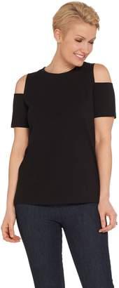 Denim & Co. Essentials Cold Shoulder Round Neck Knit Top
