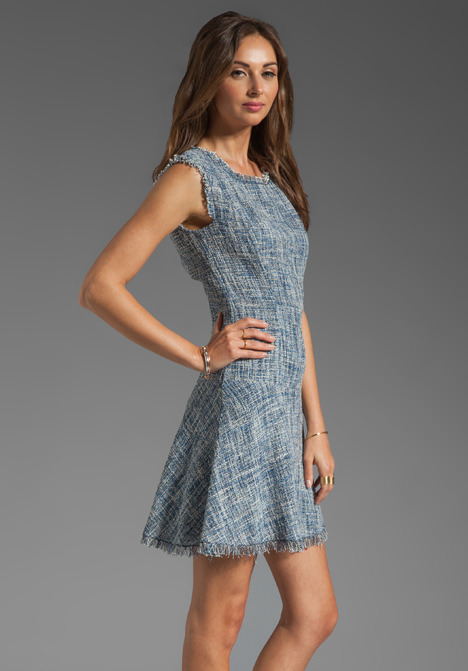 Rebecca Taylor Frayed Fit & Flared Dress