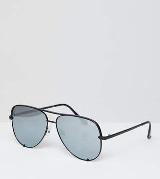 Quay X Desi High Key Flat Lens Aviator Sunglasses In Black & Free Sunglasses Case Exclusive To Asos