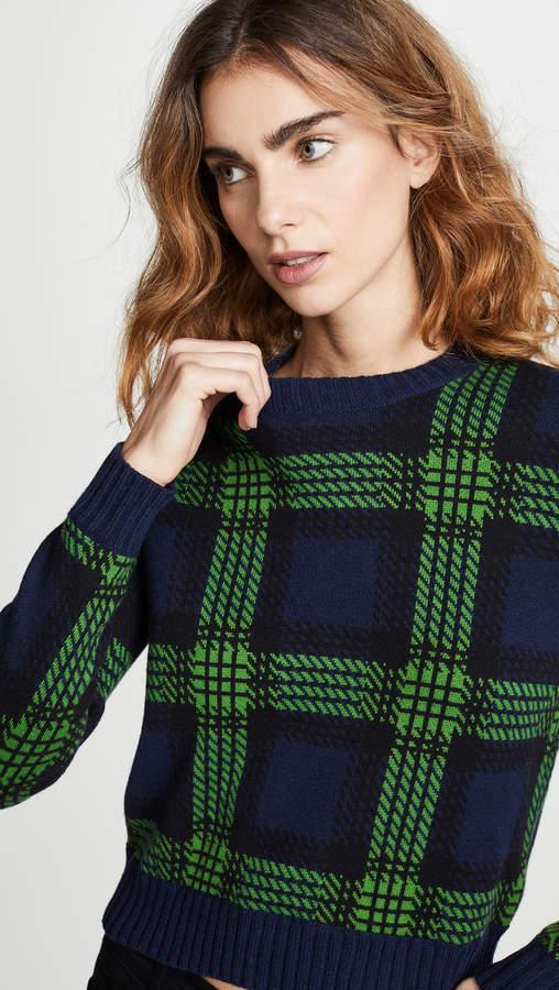 Tartan Plaid Crew Neck Sweater