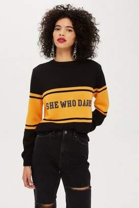 Topshop 'She Who Dares' Slogan Jumper