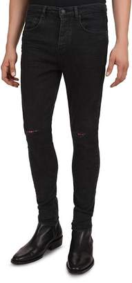 The Kooples Distressed Slim-Fit Jeans in Black Washed
