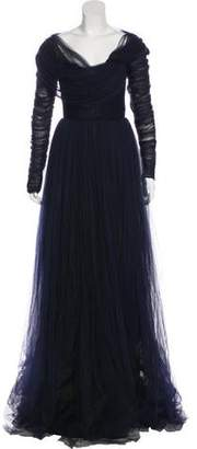 DELPOZO Pleated Evening Gown