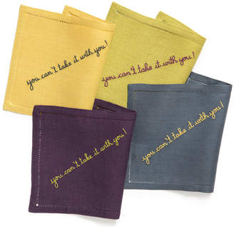 Couture Julia B. Linens You Can't Take It With You Linen Cocktail Napkin Set