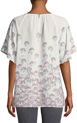 Cynthia Steffe Cece By Floral-Print Flutter Sleeve Blouse
