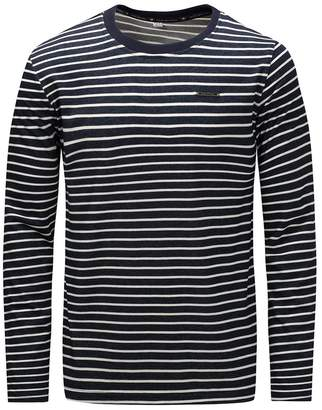 Feicuan Long Sleeve T-Shirt Men Tops Stripe Thick Round Collar Casual Slim Fit