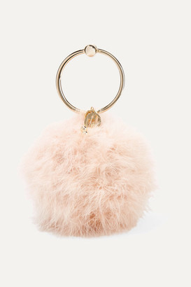 Rosantica Milady Feather-embellished Clutch - Baby pink