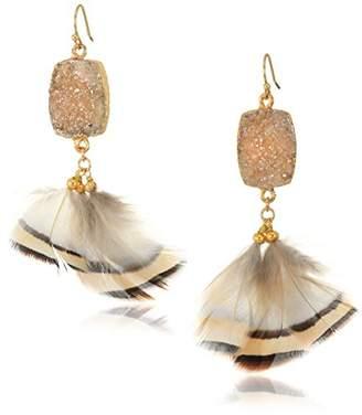 Panacea Drusy Feather Drop Earrings