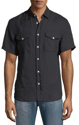 Billy Reid Graham Pocket Short-Sleeve Sport Shirt