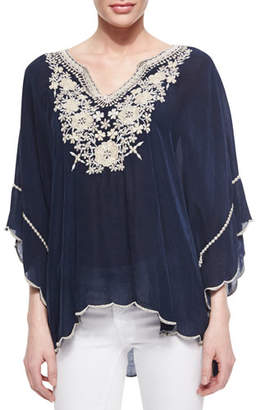 Johnny Was Embroidered Georgette Poncho Tunic