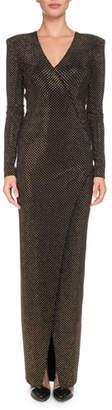 Balmain V-Neck Long-Sleeve Strass Wrap Evening Gown