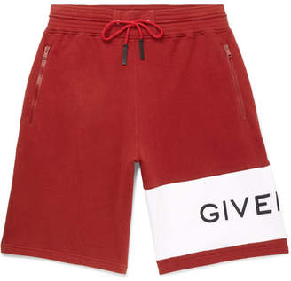 Givenchy Wide-Leg Logo-Embroidered Fleece-Back Cotton-Jersey Drawstring Shorts