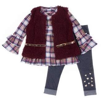 Little Lass Girls 4-6x Plaid Ruffle Henley, Faux-Fur Vest & Jeggings Set